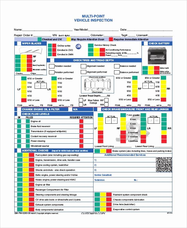 Vehicle Inspection form Template Fresh 8 Vehicle Inspection forms Pdf Word