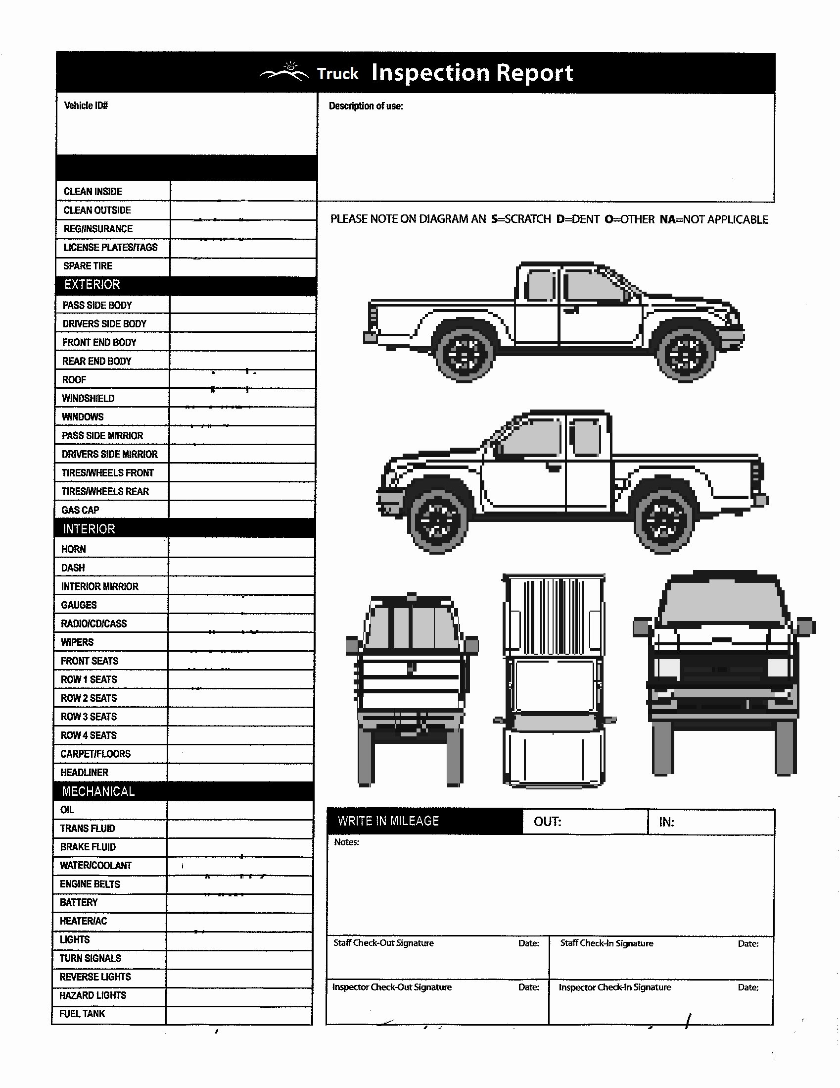Vehicle Inspection form Template Fresh Vehicle Inspection form Template