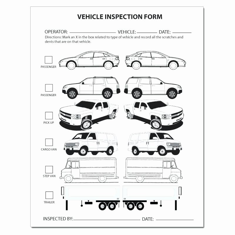 Vehicle Inspection form Template Lovely 15 Vehicle Inspection form