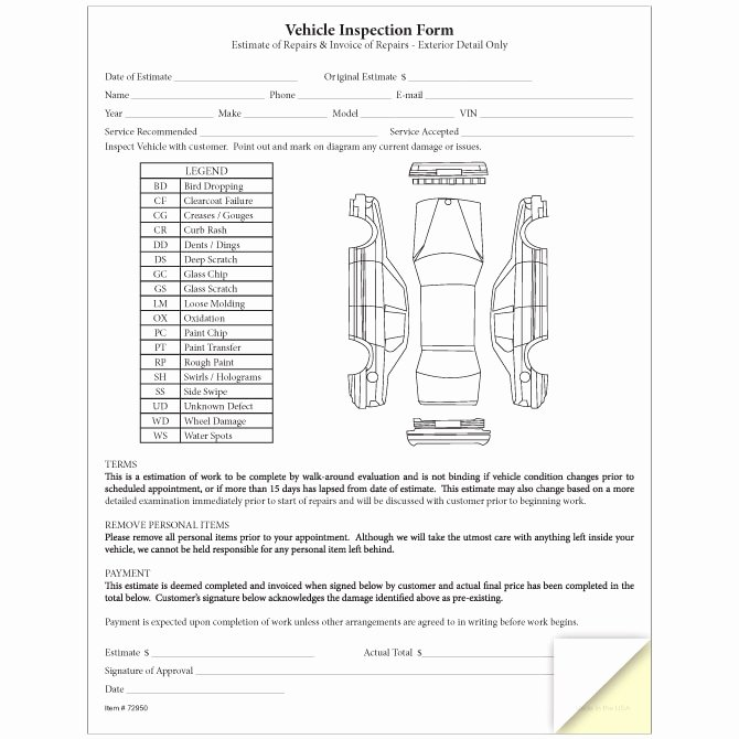 Vehicle Inspection forms Templates Elegant Vehicle Inspection & Estimate form Nhadastore