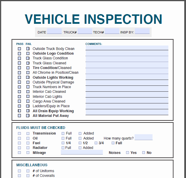 Vehicle Inspection forms Templates Lovely Vehicle Inspection form – Profit Rhino