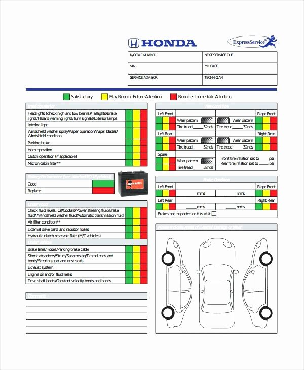 Vehicle Inspection Sheet Template Awesome Free Vehicle Inspection form Template – socbran