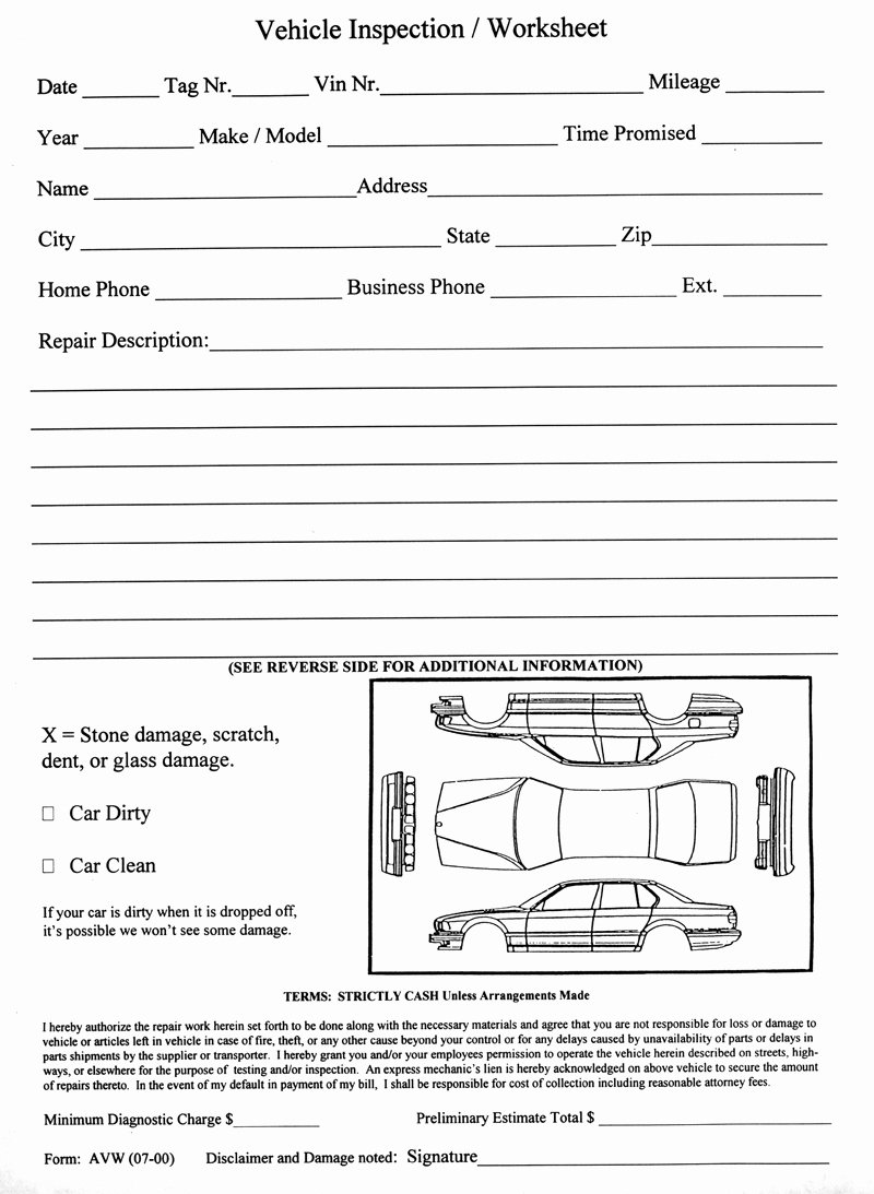 Vehicle Inspection Sheet Template Best Of 14 Best Of Auto Worksheet Printable Vehicle Body