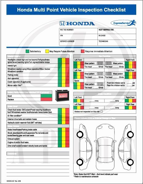 Vehicle Inspection Sheet Template Lovely ford Multi Point Inspection Report Card Pdf