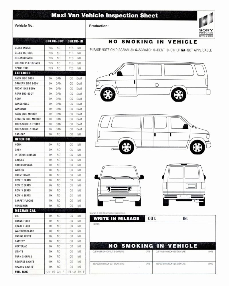 Vehicle Inspection Sheet Template New Vehicle Inspection form Template