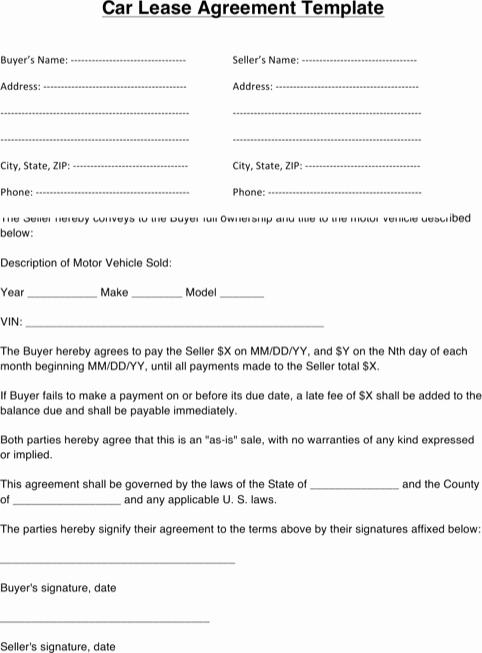 Vehicle Lease Agreement Template Elegant Download Vehicle Lease Agreement for Free formtemplate