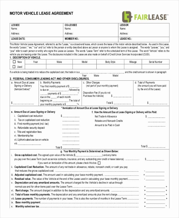 Vehicle Lease Agreement Template Elegant Rental Lease Agreement Template 13 Free Word Pdf