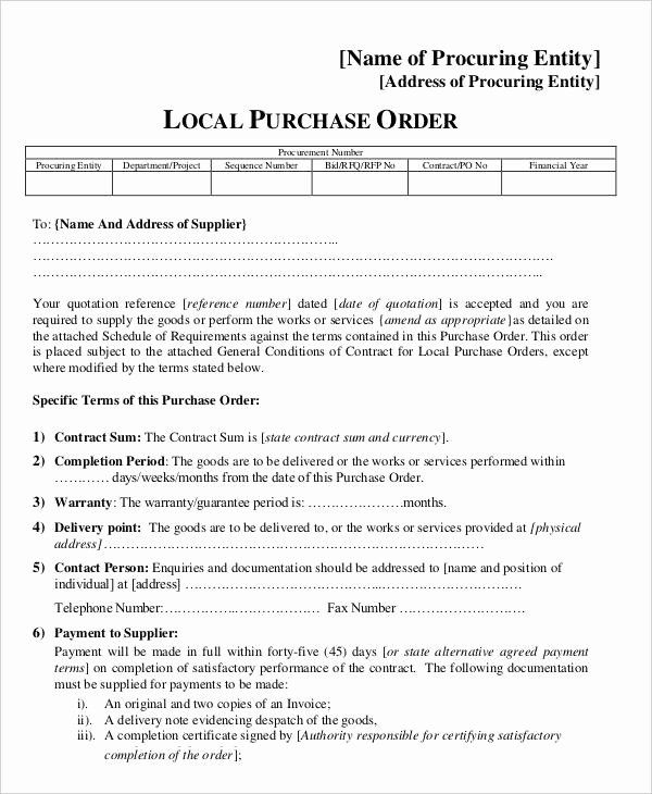 Vehicle Purchase order Template Awesome 15 Purchase order Templates