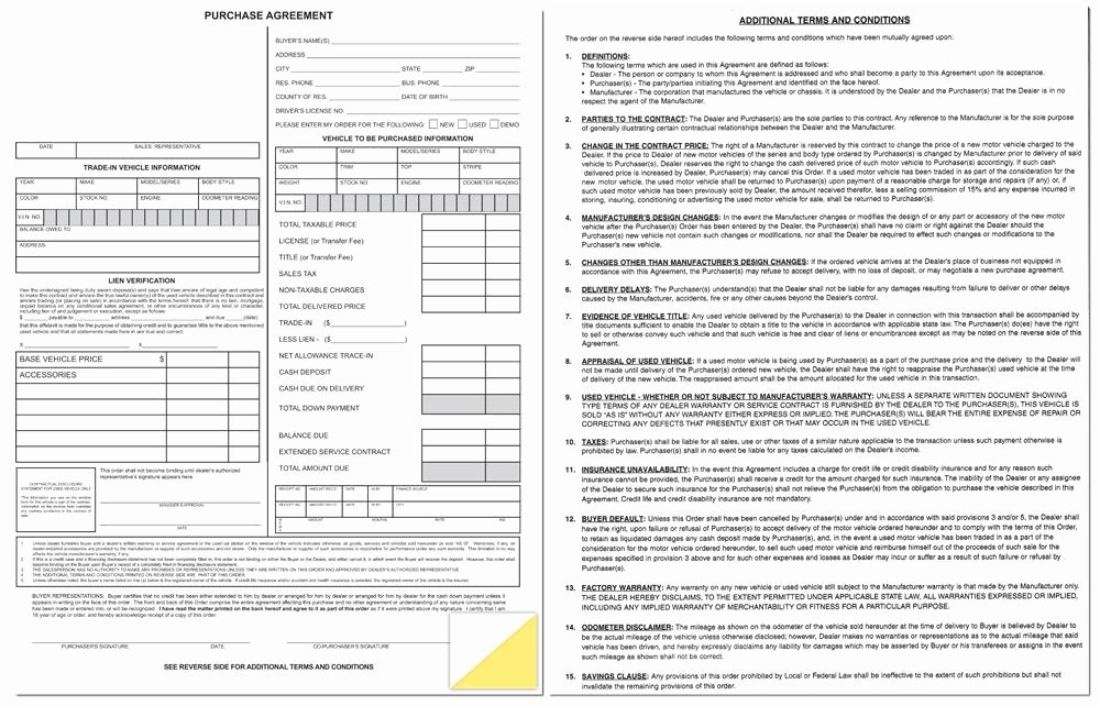 Vehicle Purchase order Template Awesome Dealer Purchase Agreement form Us Auto Supplies