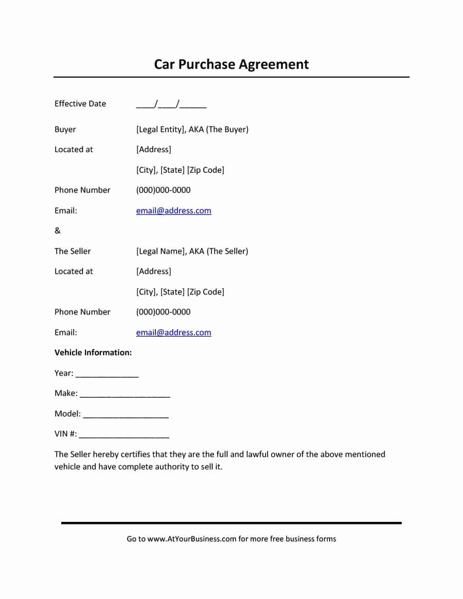 Vehicle Purchase order Template Fresh 42 Printable Vehicle Purchase Agreement Templates