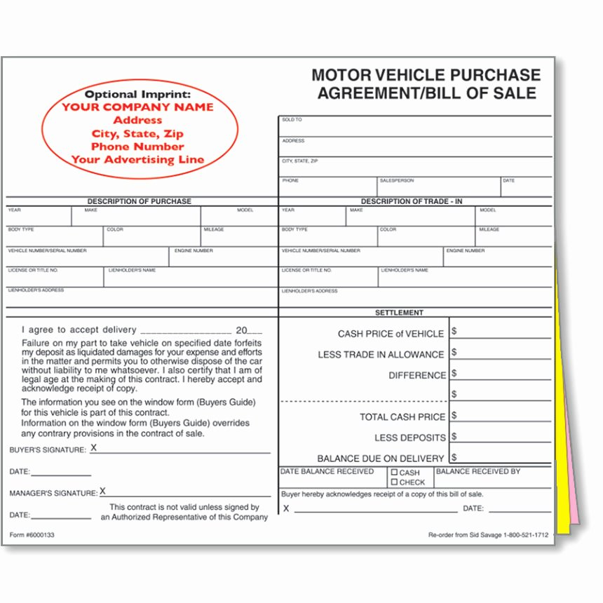 Vehicle Purchase order Template Luxury Custom Imprinted Bill Of Sale Style 1