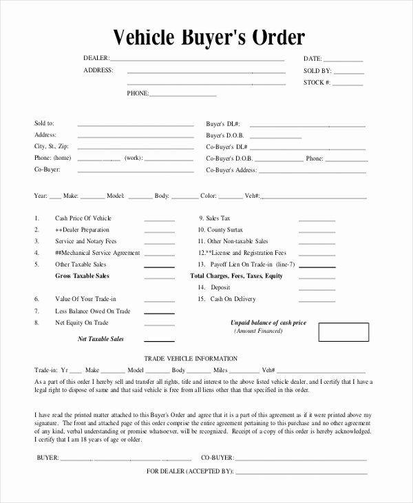 Vehicle Purchase order Template Luxury Free 11 Sample Blank Purchase order forms In Pdf
