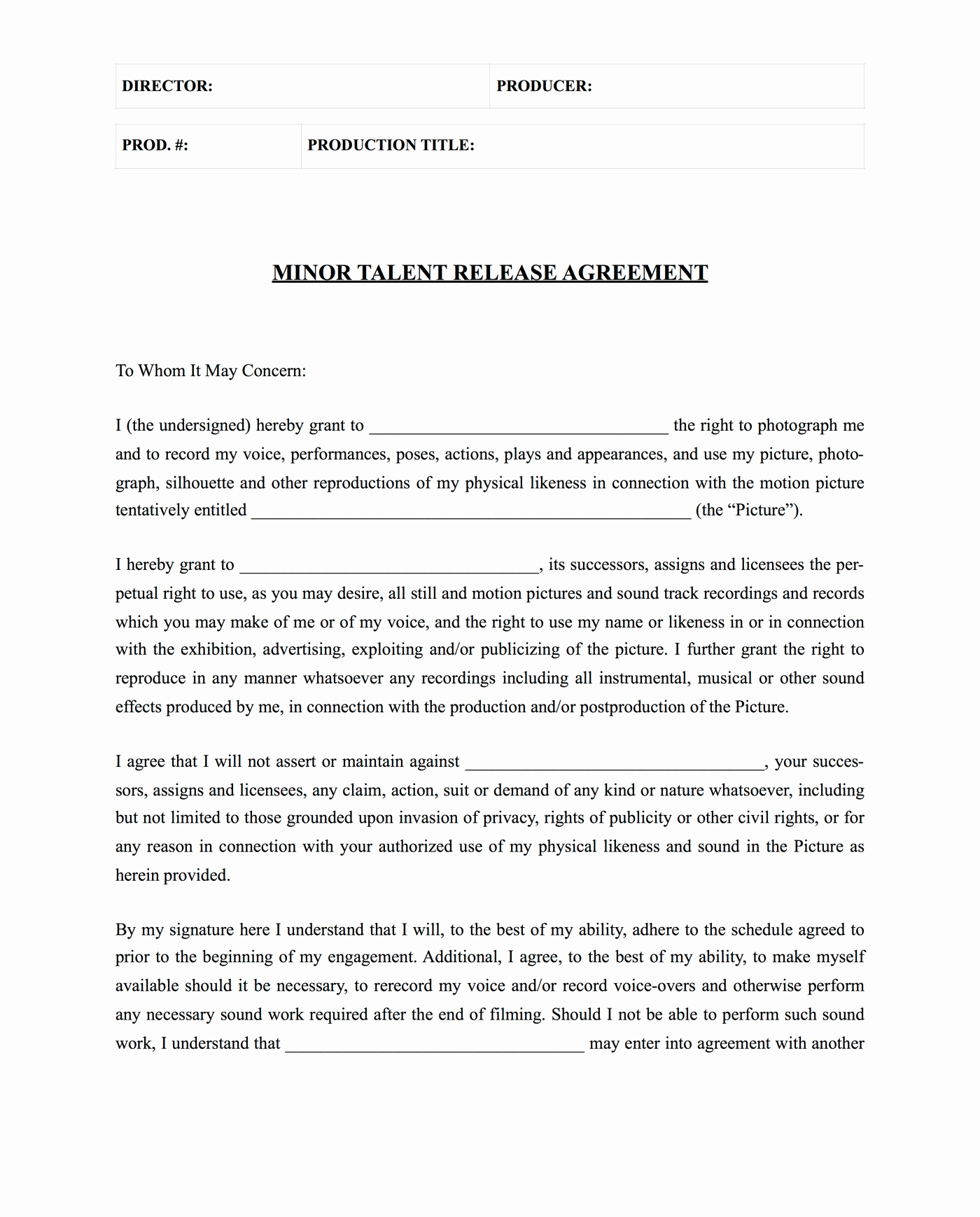 Vehicle Release form Template Awesome Download Free Actor Release form Template