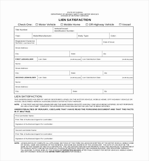Vehicle Release form Template Awesome What is A Lien On A Car