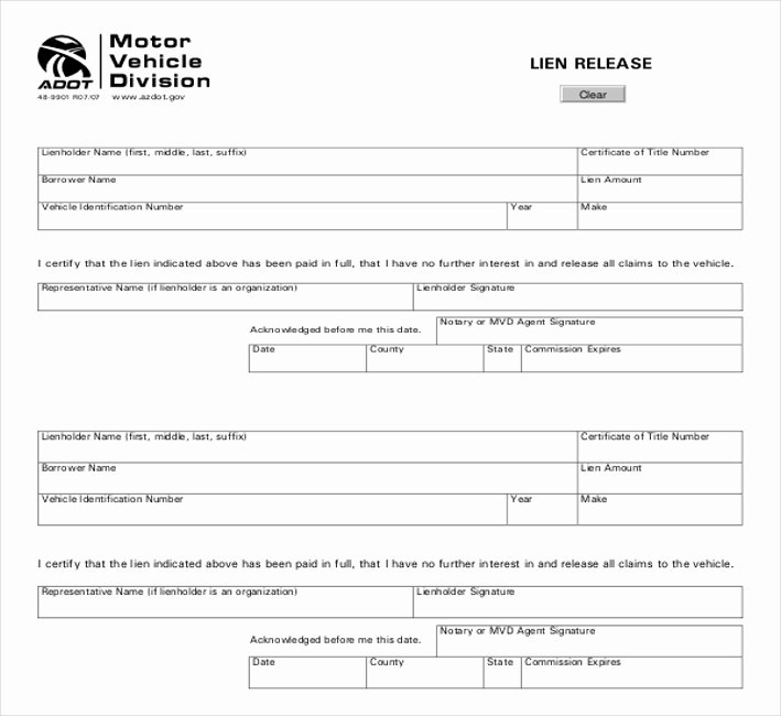 Vehicle Release form Template Elegant Free 11 Lien Release Sample forms In Word