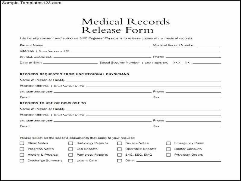 Vehicle Release form Template Elegant Generic Release Liability form Medical Records Release