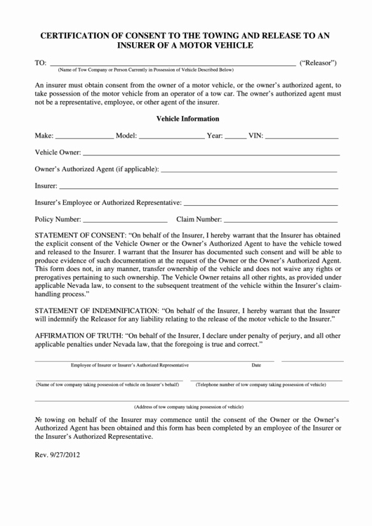 Vehicle Release form Template Fresh top 9 Vehicle Release form Templates Free to In