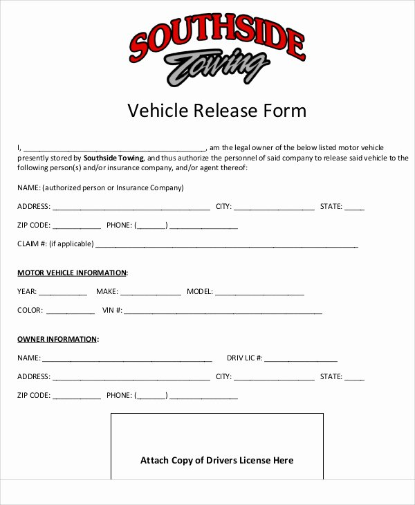 Vehicle Release form Template Inspirational Sample Vehicle Release form 9 Examples In Word Pdf
