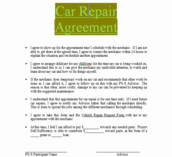 Vehicle Release form Template Lovely Car Repair Contract Sample to In Doc Word
