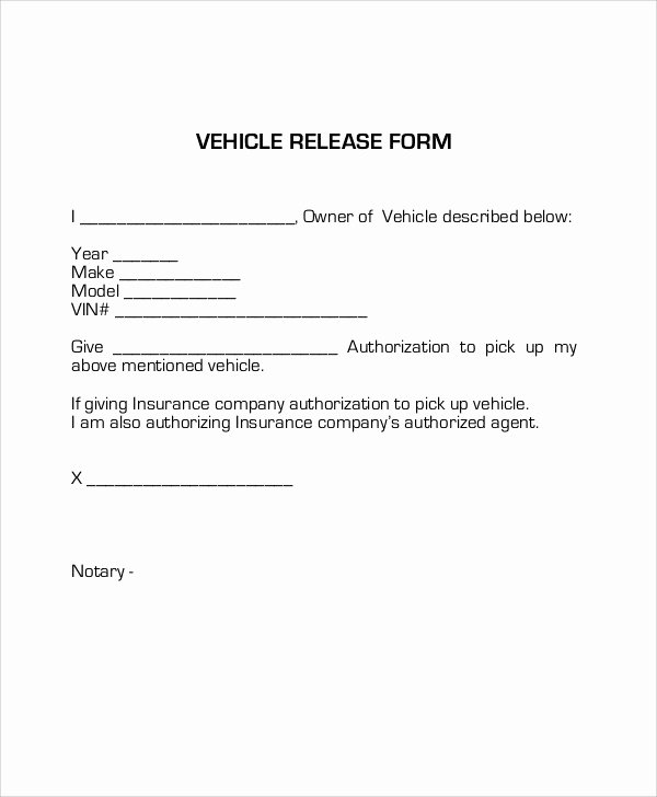 Vehicle Release form Template Lovely Sample Vehicle Release form 9 Examples In Word Pdf
