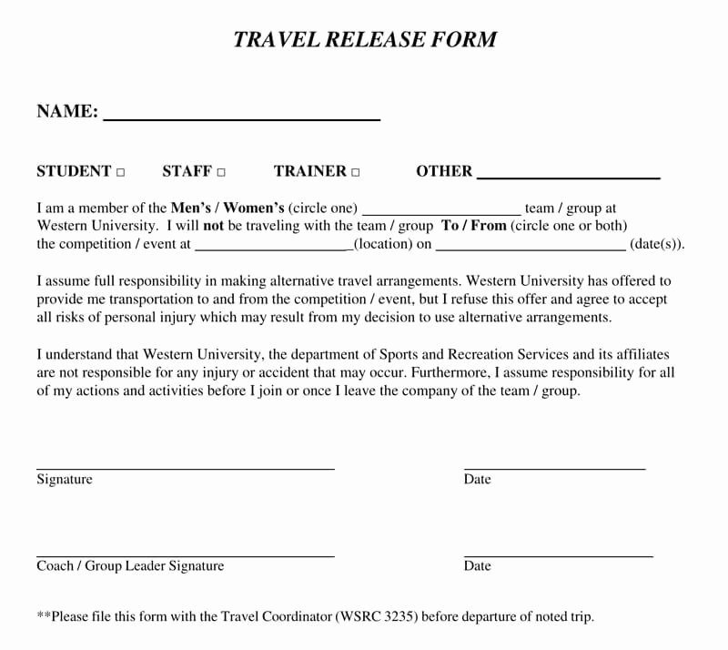 Vehicle Release form Template Luxury Release Of Liability form 25 Samples & Templates