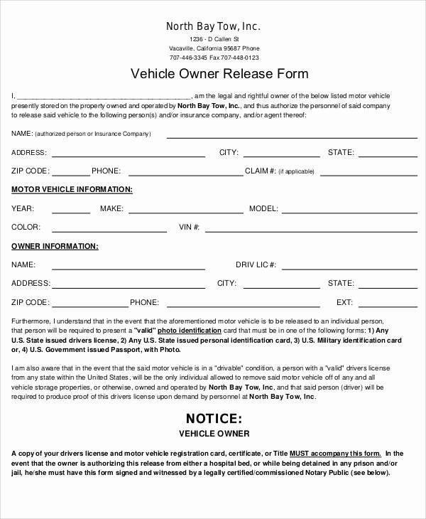 Vehicle Release form Template New Sample Vehicle Release form 9 Examples In Word Pdf