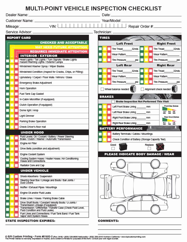 Vehicle Safety Inspection Checklist Template Elegant Multi Point Inspection Checklist Bpi Dealer Supplies