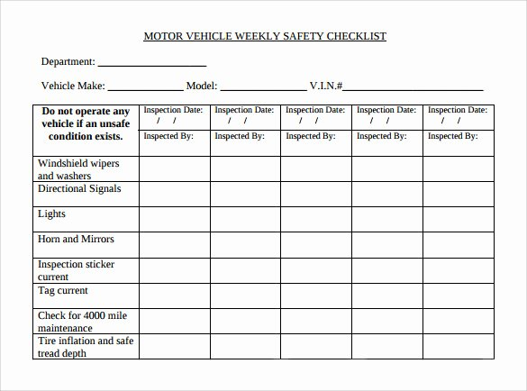 Vehicle Safety Inspection Checklist Template Inspirational Sample Weekly Checklist Template 10 Free Documents In