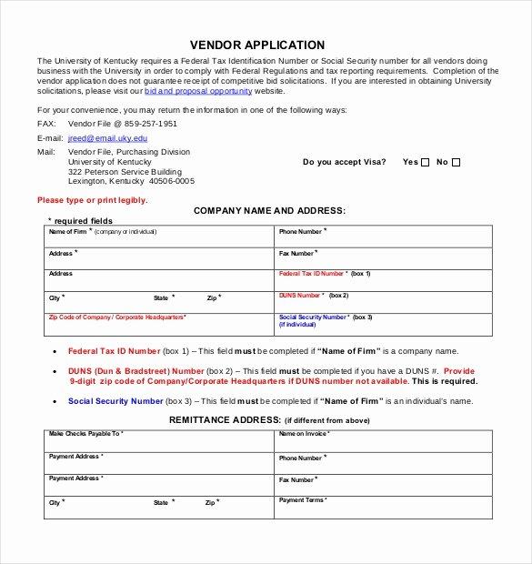 Vendor Application form Template Awesome Vendor Application Template – 9 Free Word Pdf Documents