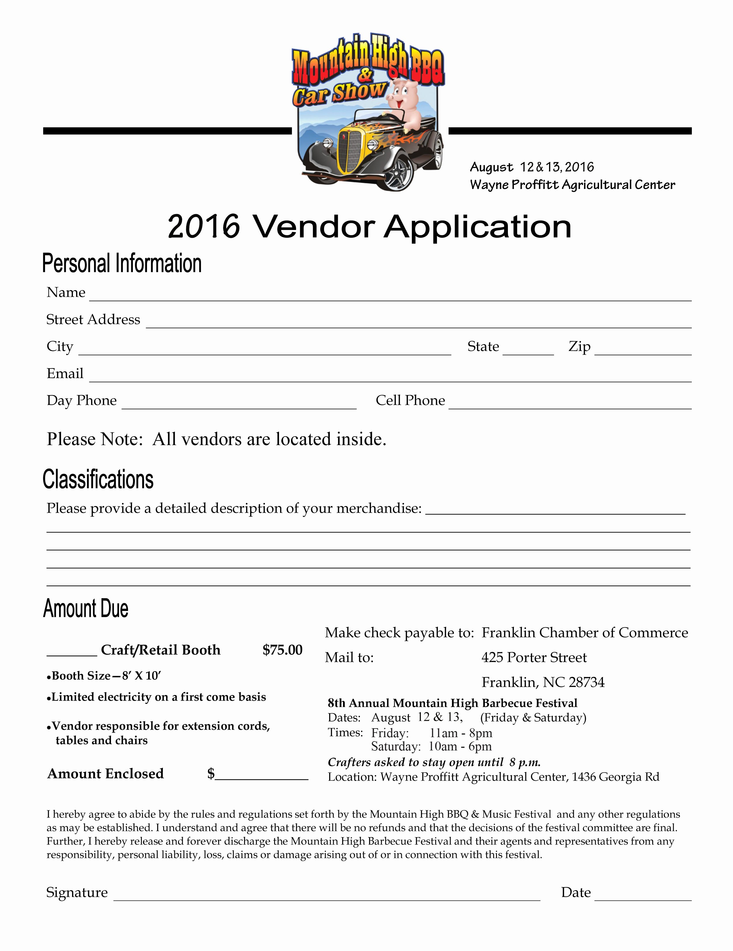 Vendor Application form Template Awesome Vendor forms Mountain High Bbq and Music Festival In