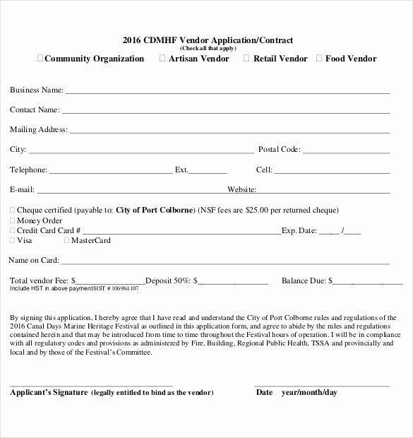 Vendor Application form Template Beautiful 10 Vendor Application Templates – Free Sample Example