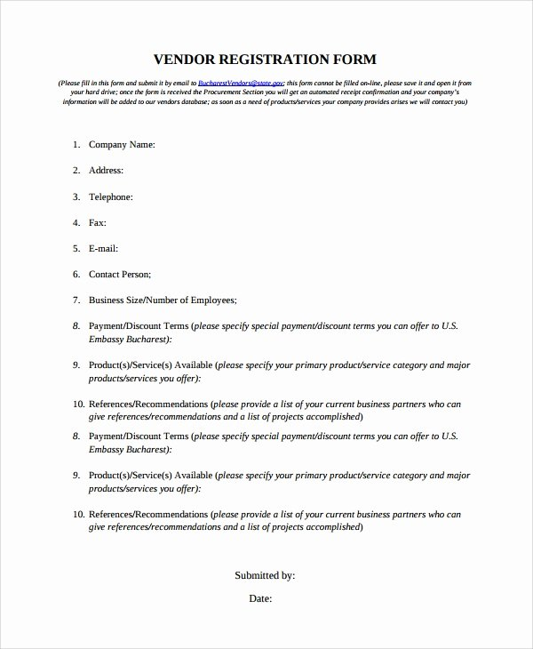 Vendor Application form Template Beautiful Sample Vendor Registration form 8 Documents In Word Pdf