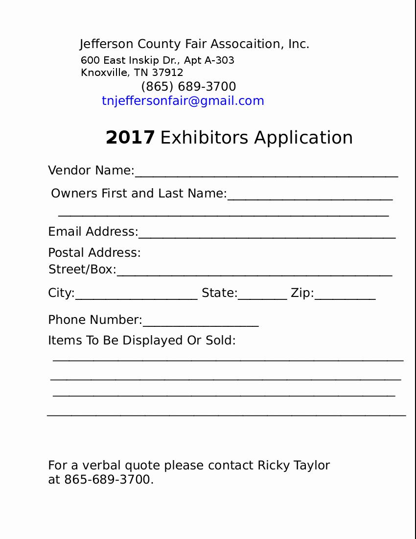 Vendor Application form Template Fresh 17 Of Exhibitor Registration form Template