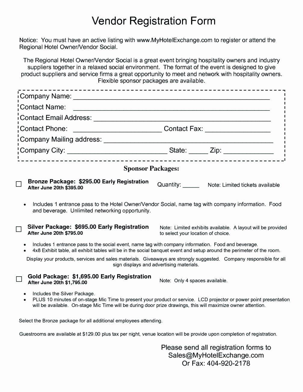 Vendor Application form Template Fresh Free Vendor Registration form Template Template