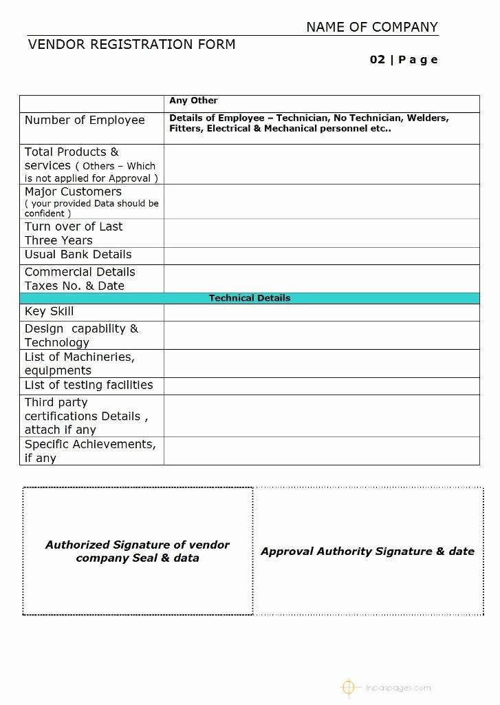 Vendor Application form Template Inspirational Vendor Registration form – Simple format