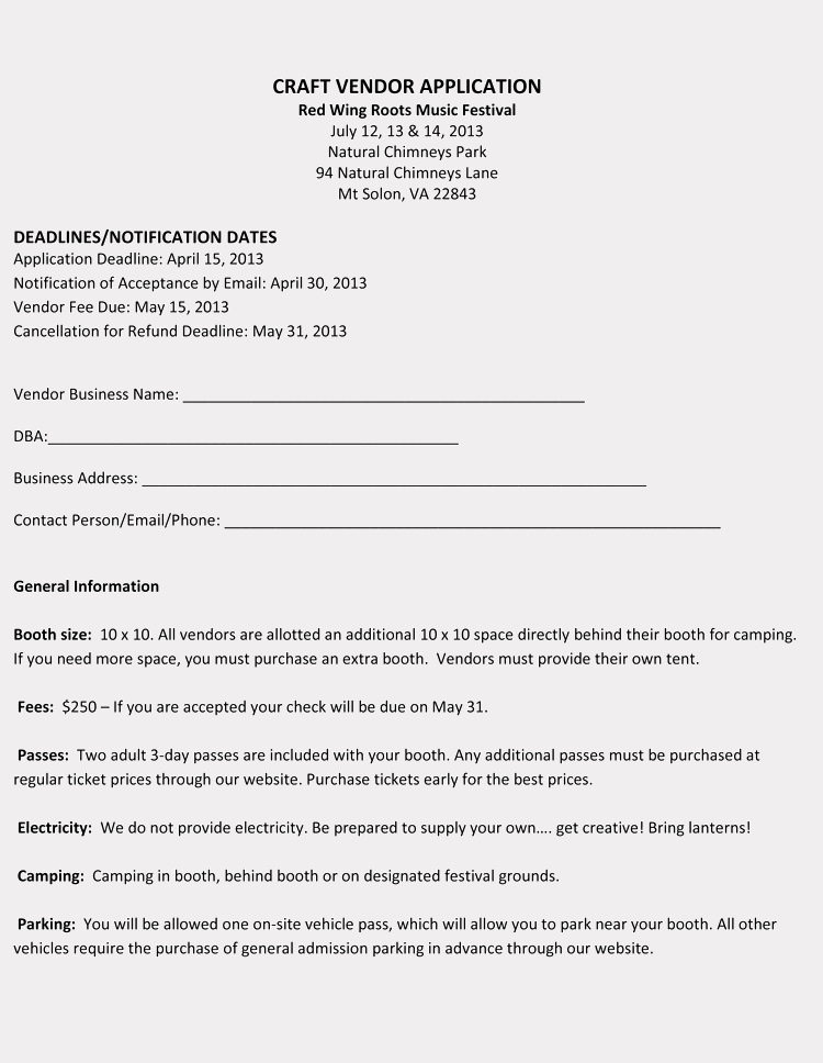 Vendor Application form Template Lovely 9 Printable Blank Vendor Registration form Templates for