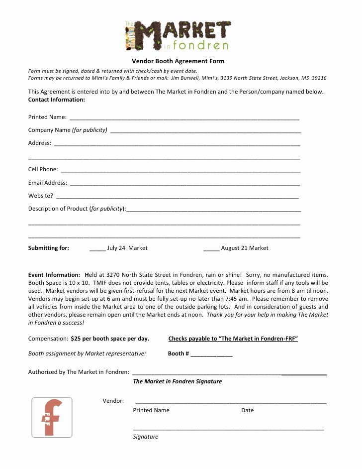 Vendor Application form Template Lovely the Market In Fondren Vendor Agreement form