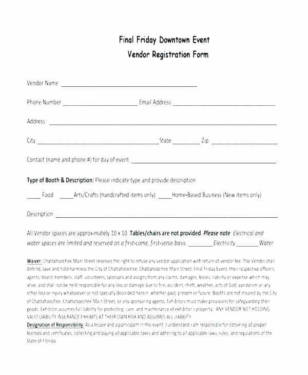 Vendor Application form Template Luxury Festival Vendor Application Template