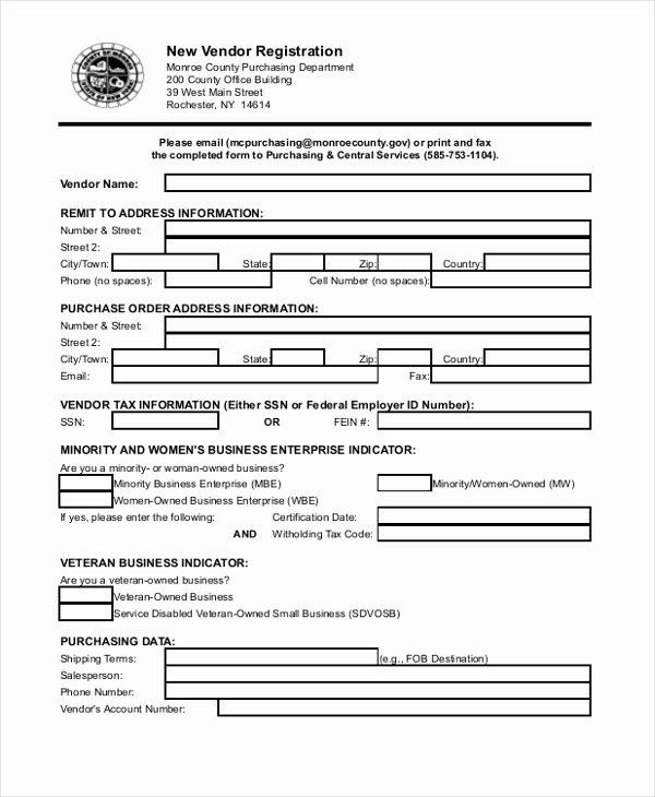 Vendor Application form Template Unique 8 Sample Vendor Application forms Sample Example format