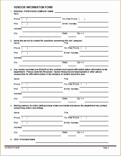 Vendor Application form Template Unique Vendor Information forms & Sample Template