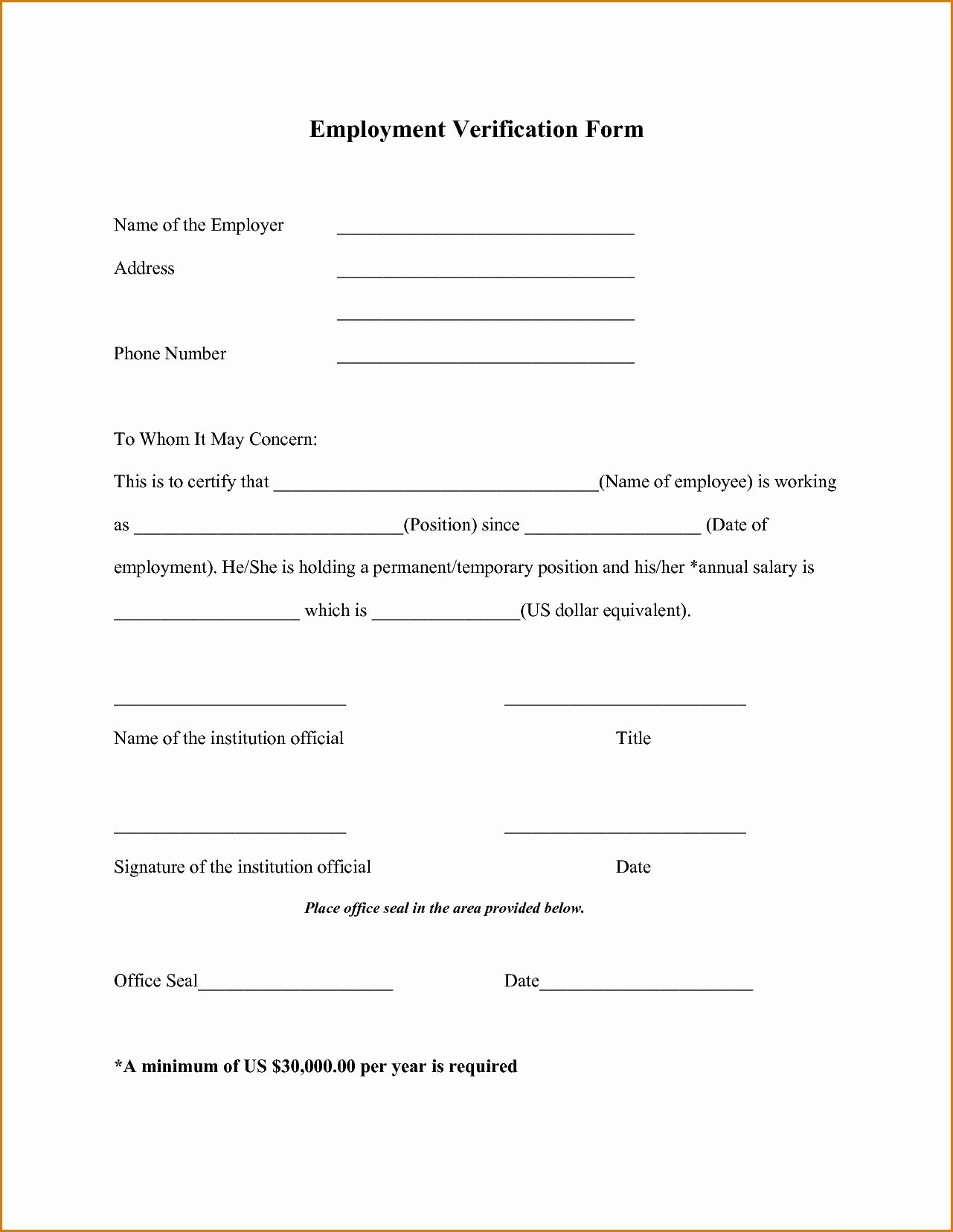 Verification Of Employment form Template Awesome Employment Verification forms Template Pics – Employee