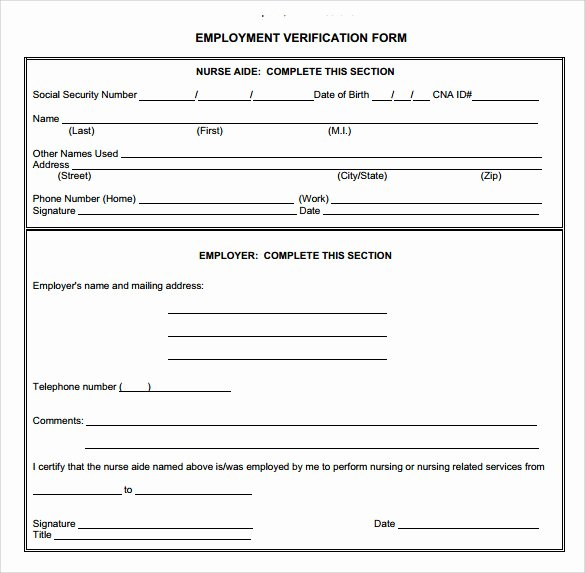 Verification Of Employment form Template Fresh Employment Verification form 8 Download Documents In Pdf