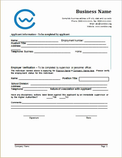 Verification Of Employment form Template Fresh Employment Verification form at Worddox