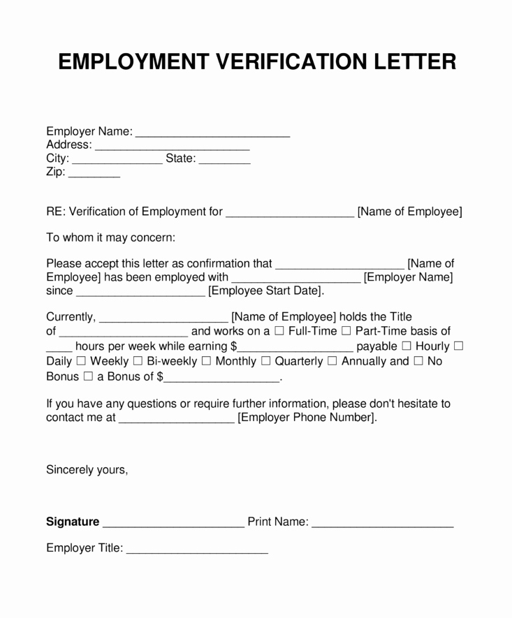 Verification Of Employment form Template Fresh Sample Blank Employment Verification Letter
