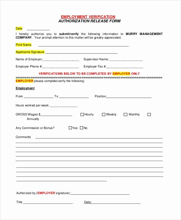 Verification Of Employment form Template Fresh Sample Verification Of Employment form 10 Examples In