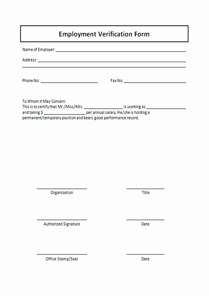 Verification Of Employment form Template Inspirational Employment Verification form Template Free Printable