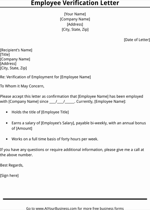 Verification Of Employment form Template Lovely Employment Verification Letter Template