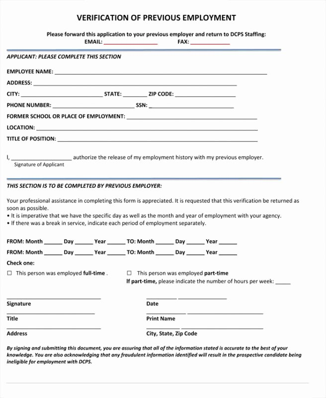 Verification Of Employment form Template New Verification Employment form Template