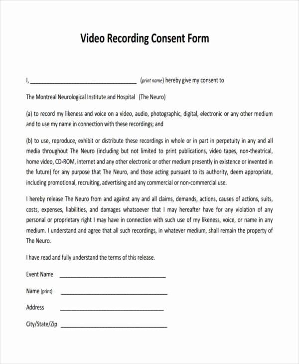 Video Release form Template Beautiful Free 41 Consent form In Templates