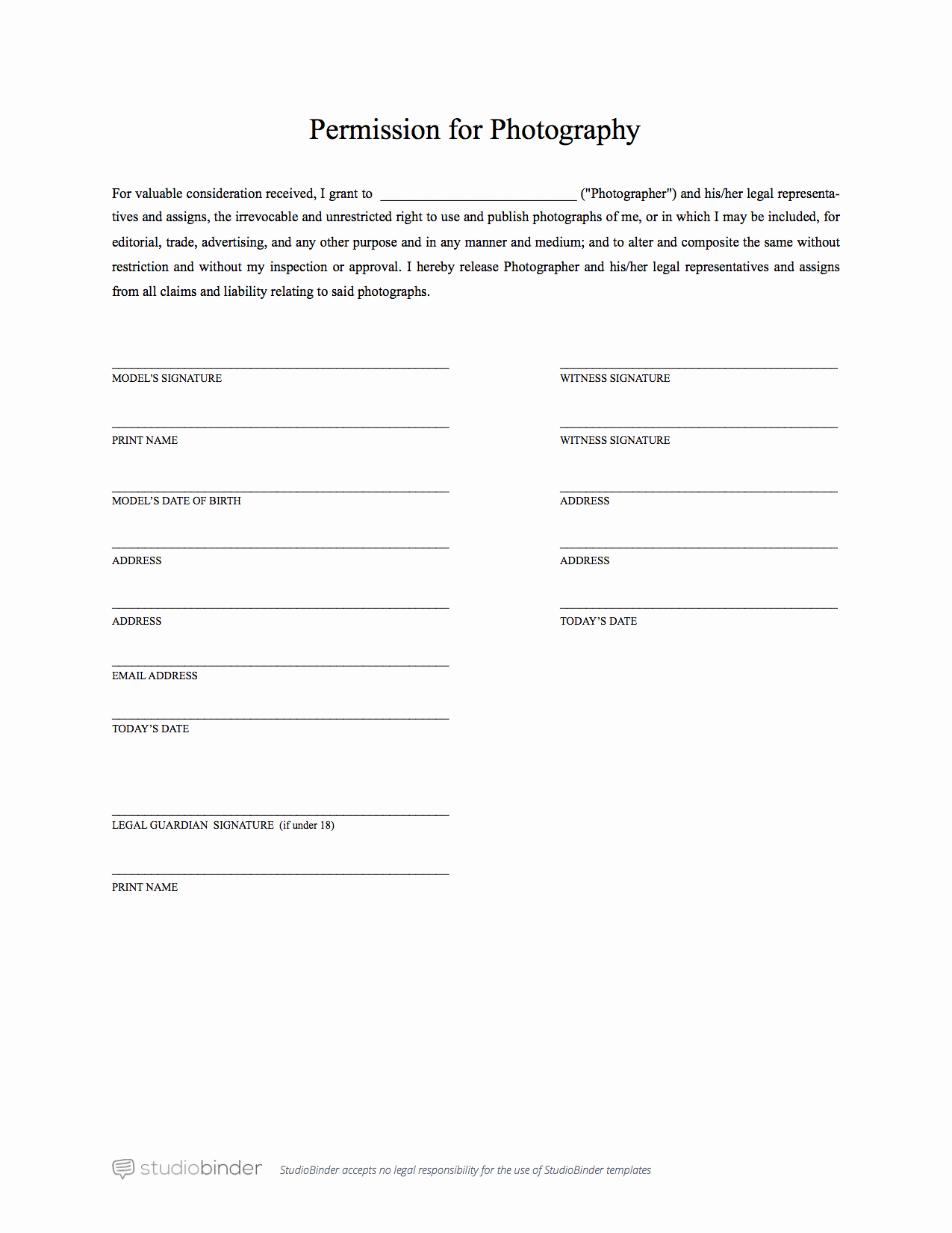 Video Release form Template New the Best Free Model Release form Template for Graphy